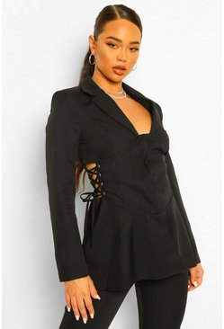 Black Tailored Corset Waist Detail Blazer