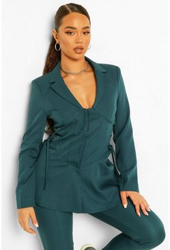 Teal green Tailored Corset Waist Detail Blazer