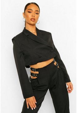 Black Tailored Shoulder Detail Cropped Blazer