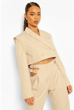 Stone beige Tailored Shoulder Detail Cropped Blazer