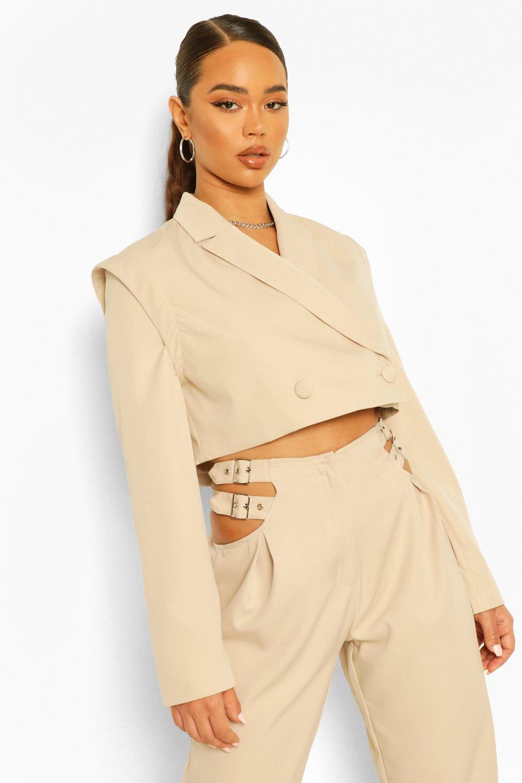 COATS & JACKETS Tailored Shoulder Detail Cropped Blazer