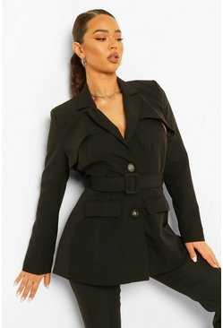 Black Tailored Open Back Belted Blazer