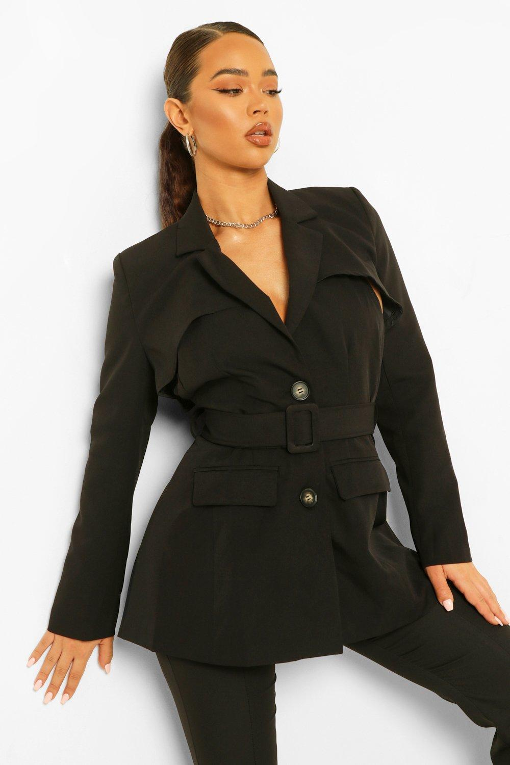 COATS & JACKETS Tailored Open Back Belted Blazer