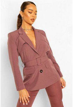 Tailored Belted Blazer & Tapered Trouser Suit Set