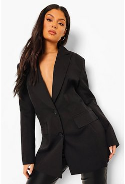Black Tailored Lace Up Back Blazer