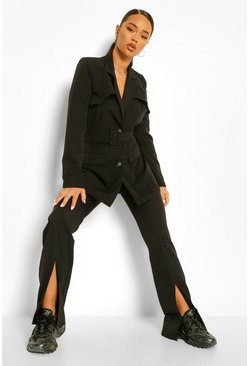 Black Tailored Split Hem Straight Trousers