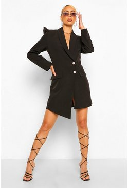 Black Puff Sleeve Asymmetric Blazer Dress