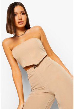 Stone beige Tailored Bandeau Crop Top