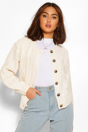 Cream white Cable Crop Jumper