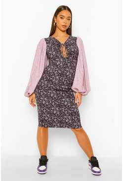 Purple Contrast Print Baloon Sleeve Mini Dress