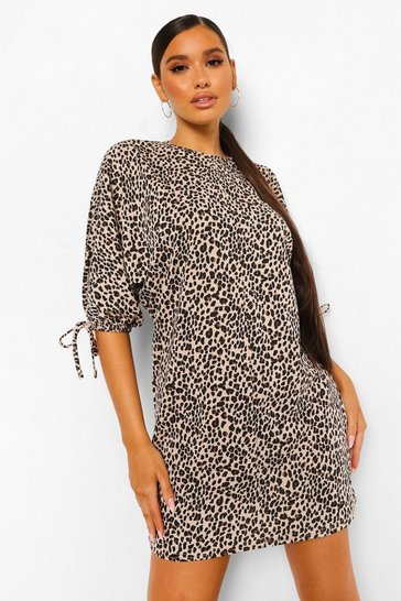 Brown Leopard Print Batwing Shift Dress