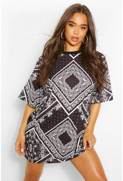 Black Bandana Print T Shirt Dress
