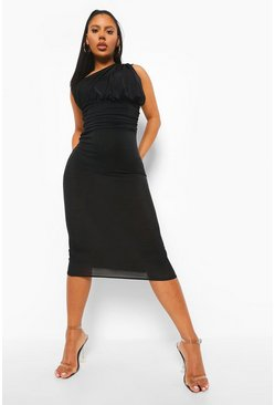 Black Rouched One Shoulder Midaxi Dress