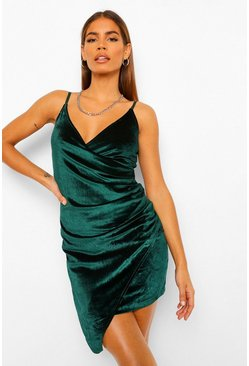 Velvet Wrap Bodycon Dress, Bottle green vert