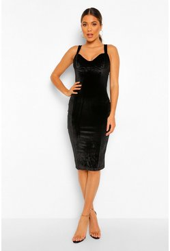 Velvert Bustier Midi dress, Black negro