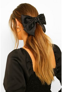 Large Satin Bow Hair Clip, Black noir