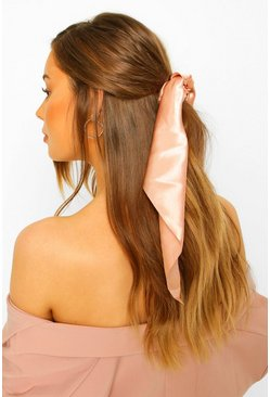 Blush pink Satin And Scarf Hair Tie