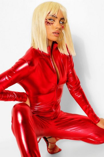 Red Halloween Catsuit And Whiplash Costume