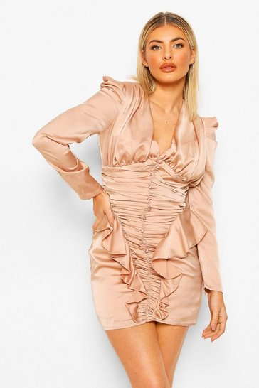 Champagne beige Button Detail Satin Ruffle Dress
