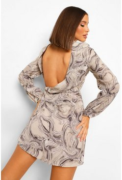 Grey Marble Print Cowl Back Chiffon Skater Dress