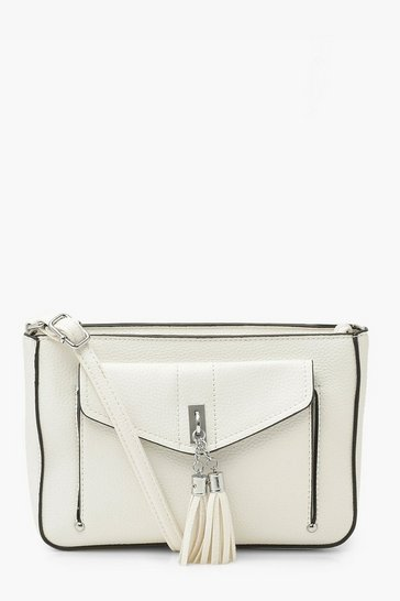 White Tassel Detail Cross Body Bag