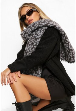 Black Colour Block And Leopard Scarf