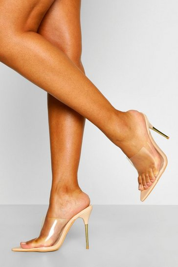 Nude Metal Heel Detail Clear Mules