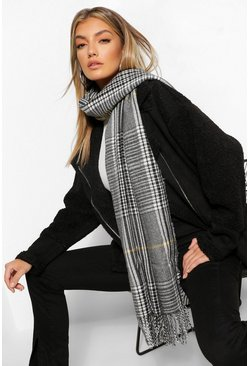 Grey Herringbone Check With Neon Stripe Scarf