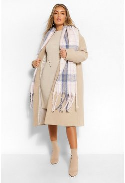 Cream Chunky Oversized Check Fringe Scarf