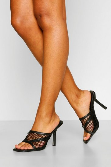 Black Mesh Detail Square Toe Mules