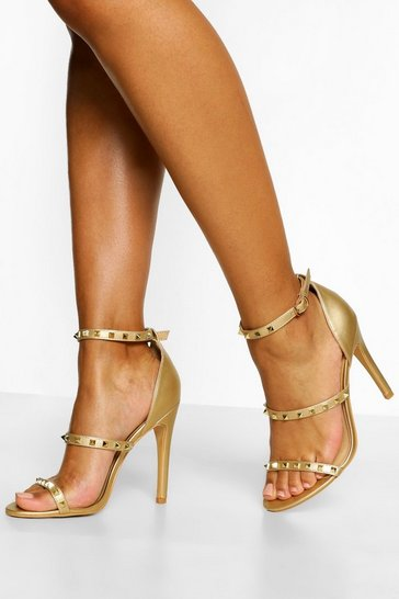 Gold metallic Triple Strap Studded Stiletto Heels