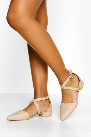Nude Croc Pointed Toe Cross Strap Ballet Pumps