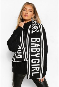 Black Babygirl Slogan Knitted Scarf