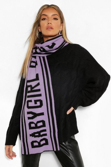Lilac purple Babygirl Slogan Knitted Scarf