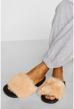 Black Faux Fur Strap Sliders