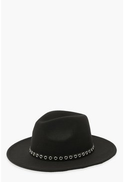 Black Stud Detail Fedora