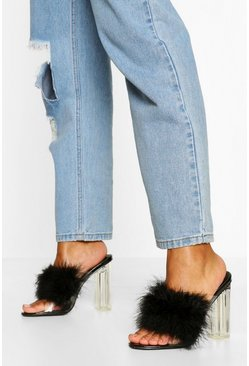 Black Feather Strap Clear Heel Mules