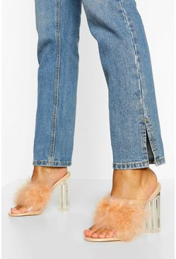 Nude Feather Strap Clear Heel Mules