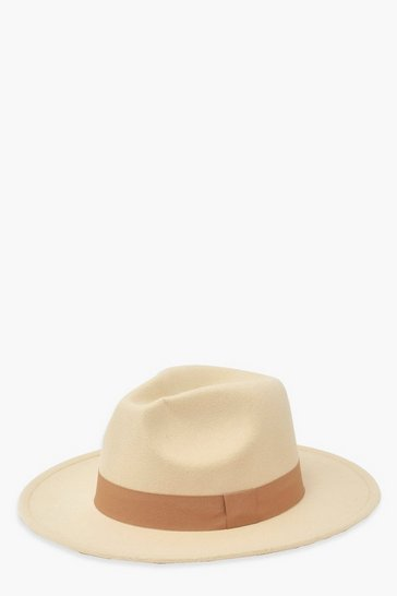 Cream white Tonal Trim Fedora