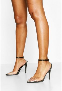 Black Diamante Clear Ankle Strap Pumps
