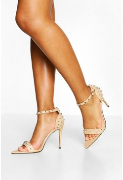 Nude Studded Pointed Toe Two Parts