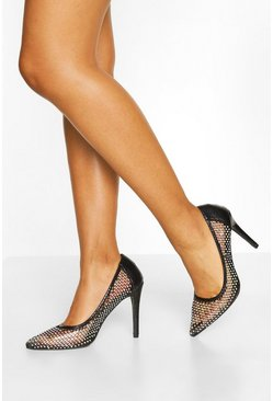 Black Diamante Mesh Detail Court Shoes