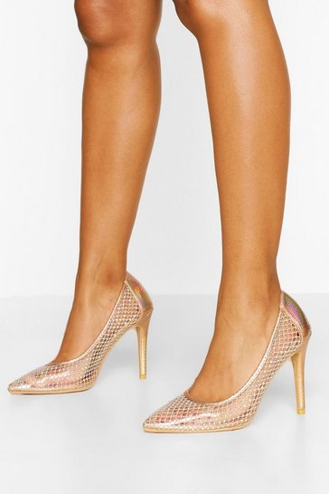 Champagne beige Diamante Mesh Detail Court Shoes