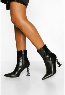Black Dollar Heel Detail Shoe Boots