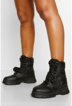 Padded Cuff Chunky Hiker Boots, Black schwarz