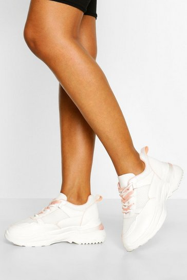 Pink Mesh Panel Chunky Sole Trainers