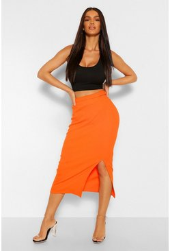 Orange Cut Out Wasitband Detail Midi Skirt