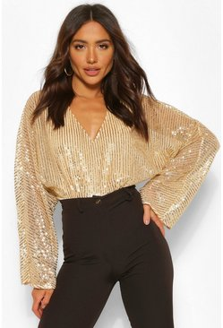 Gold metallic Sequin Batwing Bodysuit