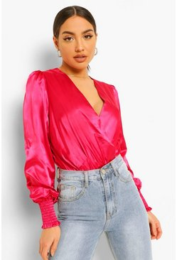 Hot pink pink Satin Shirred Cuff Wrap Bodysuit