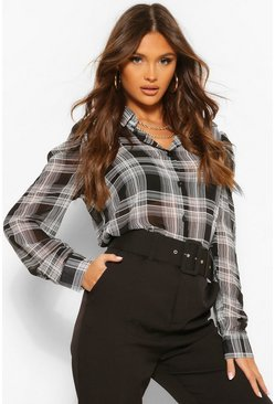 Woven Check Puff Sleeve Shirt, Black nero
